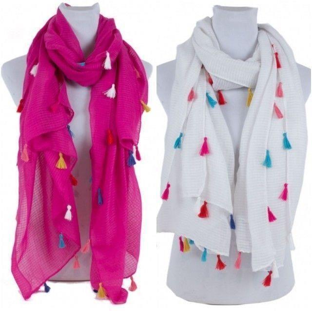 Women Spring Soft Elegant Semi Sheer Scarf With Multi Colored Tassel NEW NWT #NorthSouthFashions #Scarf #Everyday