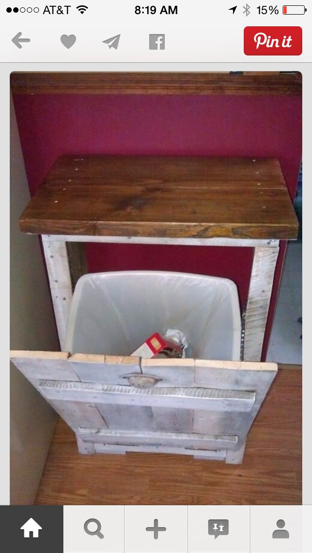 Trash can made of reclaimed wood