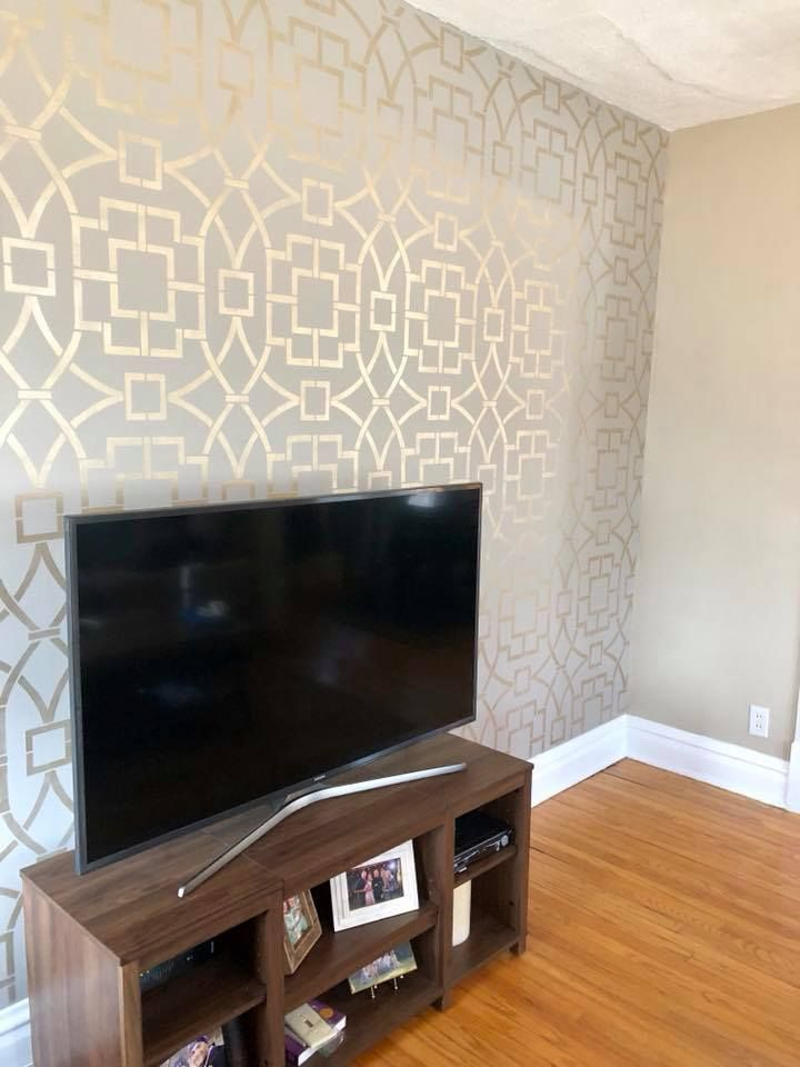 Metallic Stenciled Accent Wall Wallpaper Look Painted Wall Pattern Wallpaper Living Room Accent Wall Bedroom Wallpaper Accent Wall Wallpaper Accent Wall