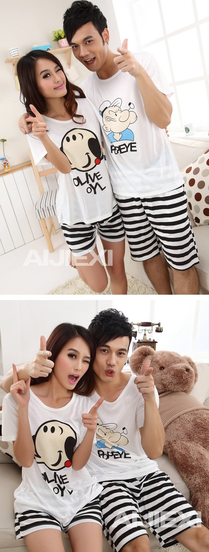 Couple Pajamas/Short-sleeve cartoon popeye men and women lovers - $39.00 : Goodinthebox.com store!