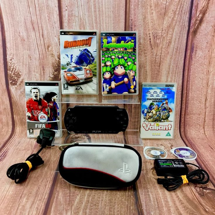 Sony PSP Handheld Console Inc Charger, Case Games Films Bundle 100% Working