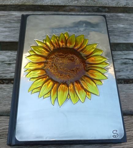 Pewter and Glass Painted Sunflower Journal by PewterConcepts on Etsy