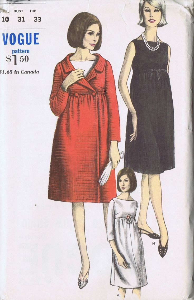 "VINTAGE MATERNITY COAT DRESS 60s SEWING PATTERN VOGUE 6279 BUST 31 HIP 33"" UNCUT 