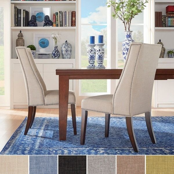 INSPIRE Q Geneva Linen Wingback Hostess Chairs Set Of 2 Room ChairsDining