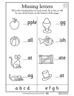 In this early reading worksheet, your child will fill in the lowercase letter a to h that belongs at the beginning of each word next to its corresponding picture, such as apple, ball, and cat.