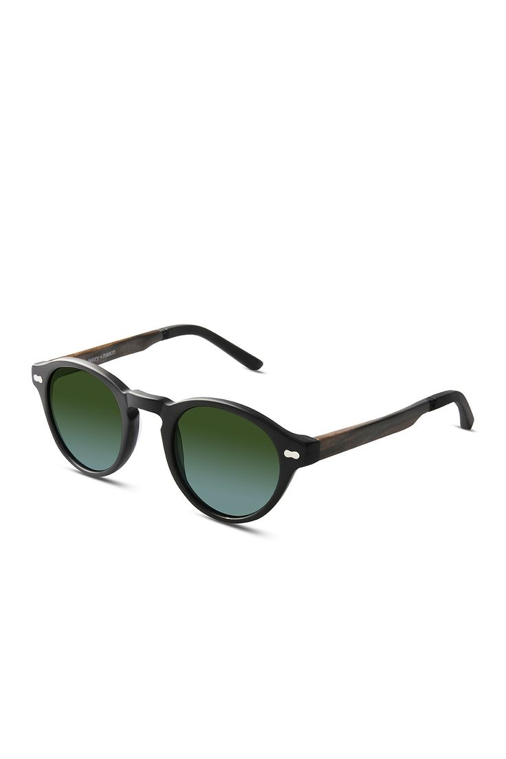 Robertson Unisex Handmade Matte Black Acetate & Walnut Wood Sunglasses