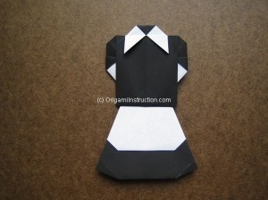 Origami Maid Uniform Step by Step instruction, used 2 sheets of paper