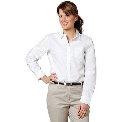Womens Pinpoint Oxford Long Sleeve Shirt Min 25 - Clothing - Business Shirts - Her Business Wear - WS-M89021 - Best Value Promotional items including Promotional Merchandise, Printed T shirts, Promotional Mugs, Promotional Clothing and Corporate Gifts from PROMOSXCHAGE - Melbourne, Sydney, Brisbane - Call 1800 PROMOS (776 667)