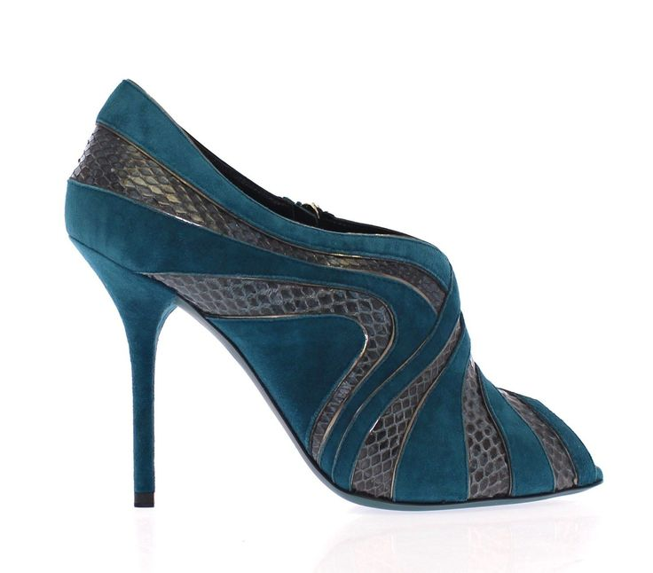 Dolce & Gabbana Blue Suede Snakeskin Open Toe Pumps Shoes