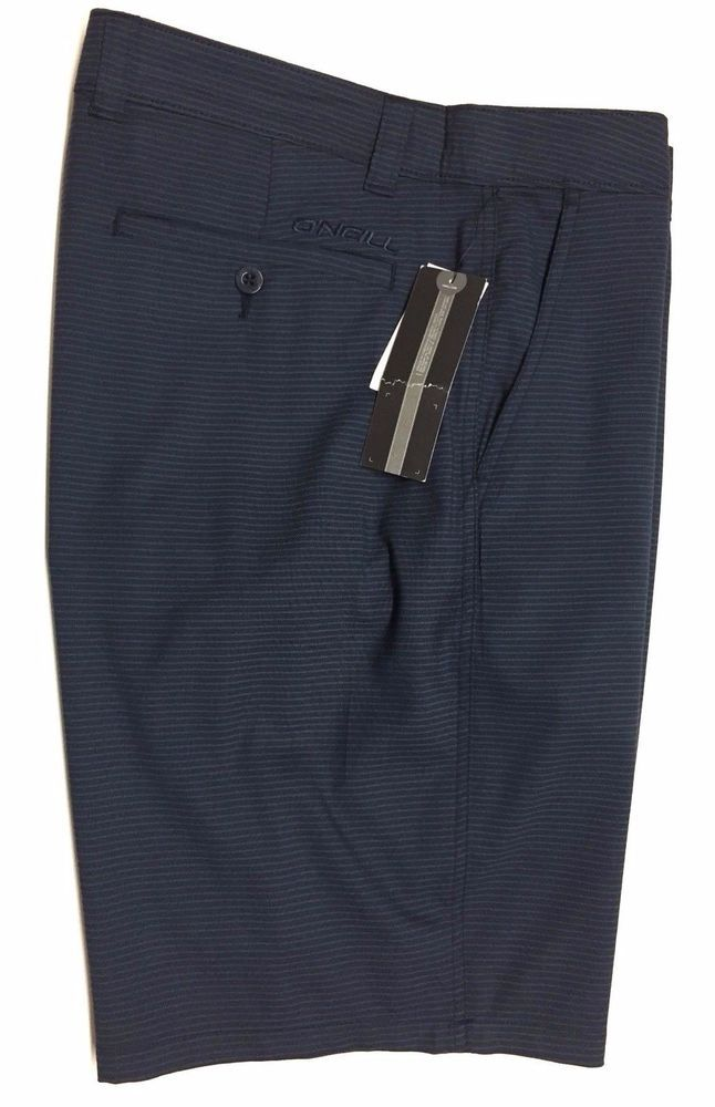 O'Neill Mens Carson Walking Skate Shorts 34 Navy Blue w/Fine Stripe NEW #ONeill #WalkingSkateShorts