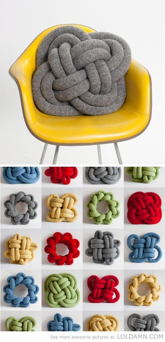 Knotted pillows - sew and stuff tubes, then knot away! Perhaps use the scrap fabric from the curtains...: