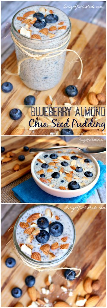 Blueberry Almond Chia Pudding by DelightfulEMade.com | A healthy, easy, on-the-go breakfast.  Prepare the night before, for a healthy, protein-packed, super-delicious breakfast.