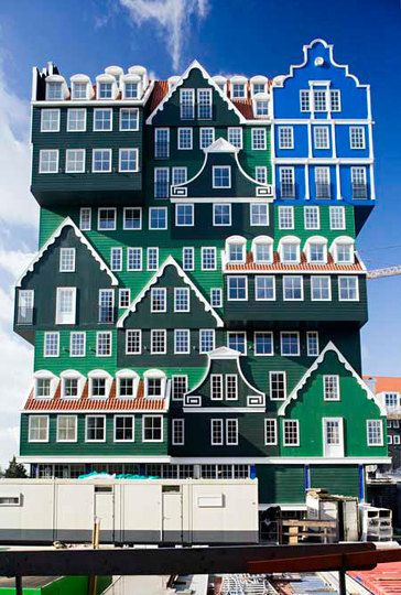 "Inntel Hotel, Zaandam, Holland. All the facades you see, explains the architect, are based on traditional Zaanstad houses. ""From a stately notary's dwelling,"" he says, ""to workers' cottages."" Van Winden's favourite is a re-creation, high up, of a blue house that features in a work by Claude Monet, painted during a trip to Zaandam."