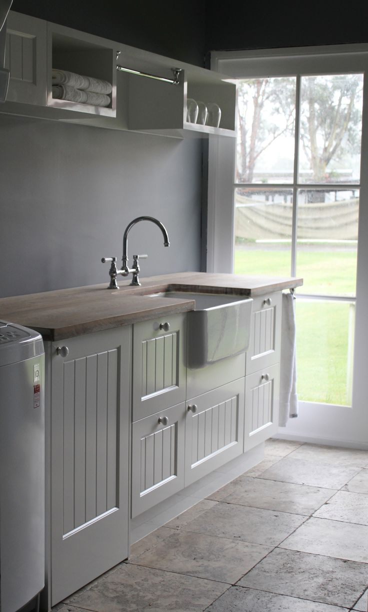 Stunning country laundry with butler sink and traditional tap as a feature. http://www.restorationonline.com.au/sinks/kitchen-sinks/belfast-and-butler-sinks