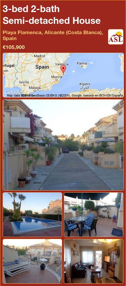 3-bed 2-bath Semi-detached House in Playa Flamenca, Alicante (Costa Blanca), Spain ►€105,900 #PropertyForSaleInSpain