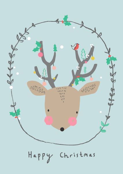 Aless Baylis for Petite Louise Christmas deer! #christmas #deer #illustration #robin #cute