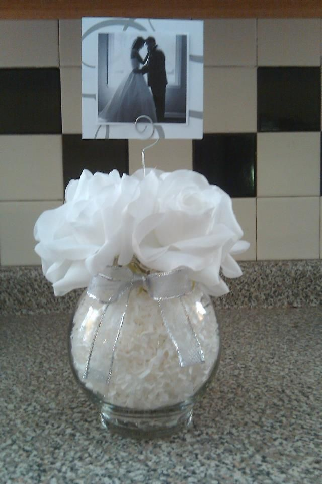 Centerpiece for 25th Anniversary Party. Don't forget personalized napkins for your anniversary celebration! It's all in the details! #anniversary www.napkinspersonalized.com More