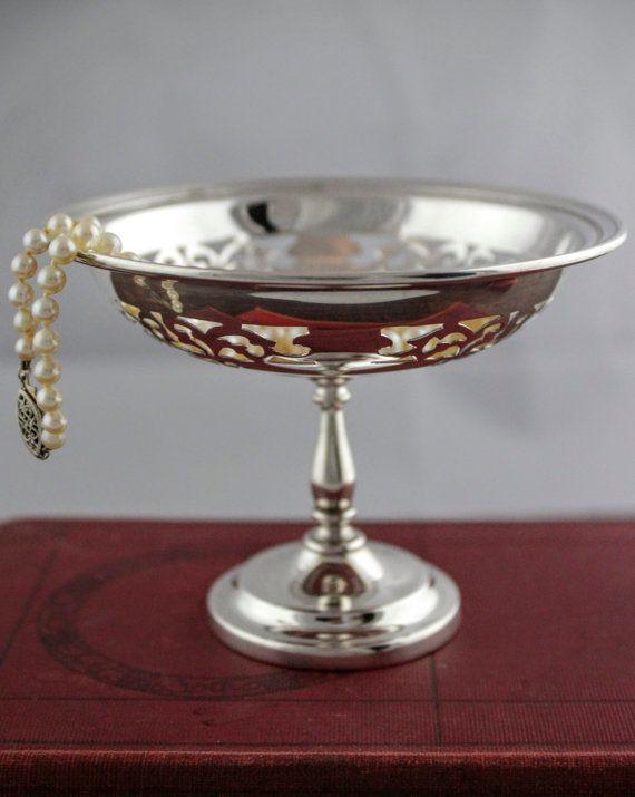 Vintage Silver Pedestal Dish  Open Lace Pierced by LoAndCoVintage