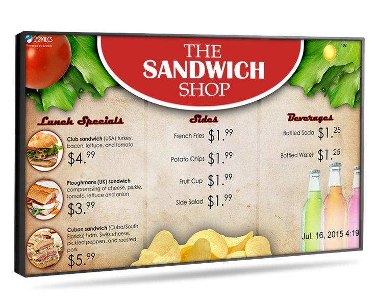 digital menu board Select the design of digital menu, signage & electronic message templates for your cafes, restaurant, school, coffee shop and bar menus to interact the customers.