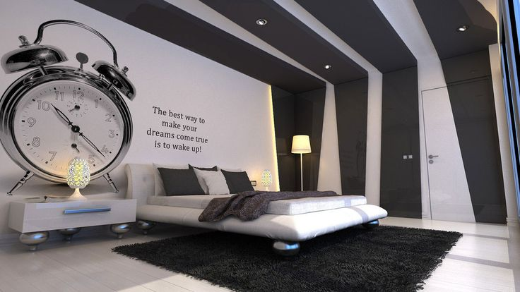 Bedroom. Awesome Loft Bedroom Designing Ideas In Black White Nuance Overlooking With White Foamy Low Profile Bed