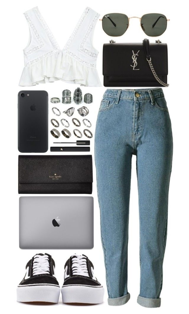 """NYU"" by crisarranz ❤ liked on Polyvore featuring ASOS, Ray-Ban, Yves Saint Laurent, Lancôme, Kate Spade and Vans"