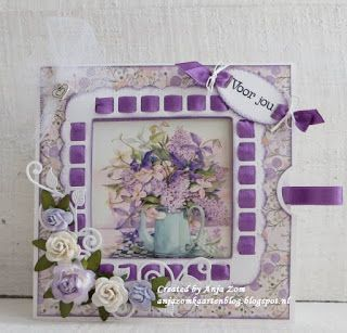 Handmade card by DT member Anja with Craftables Flower Set - Sweet (CR1358), Ribbon Square (LR1369) and Creatables Swirl & Leaves (LR0414) from Marianne Design
