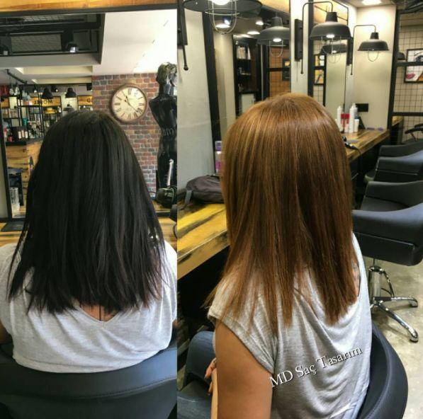 Siyah saçtan tek seferde karamale dönüş.. Sizde siyah saçtan kurtulmak istiyorsanız hemen randevunuzu alın😉😉#blackhair #karamel #degisim #haircolor #hairstyle #hairtrend #hairdresser #hairstyles #hairy #izmir #instahair #instagood #efsaneasaclar #mdsactasarim @mdmetindemir