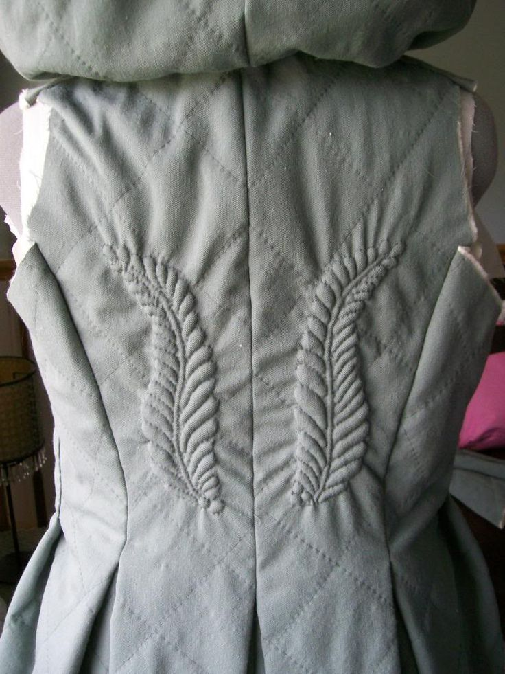 Lovely trapunto work on a a quilted jacket (construction in progress) <> (needlework)