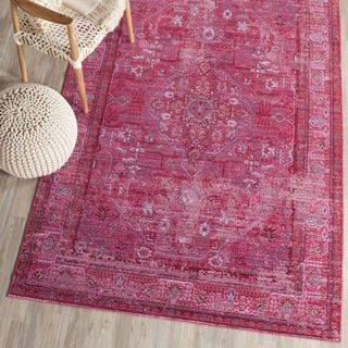 Safavieh Valencia Red/ Multi Overdyed Distressed Silky Polyester Rug (8' x 10') - Free Shipping Today - Overstock.com - 18650029