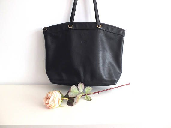 Longchamp/grand sac cuir noir Longchamp/sac cabas