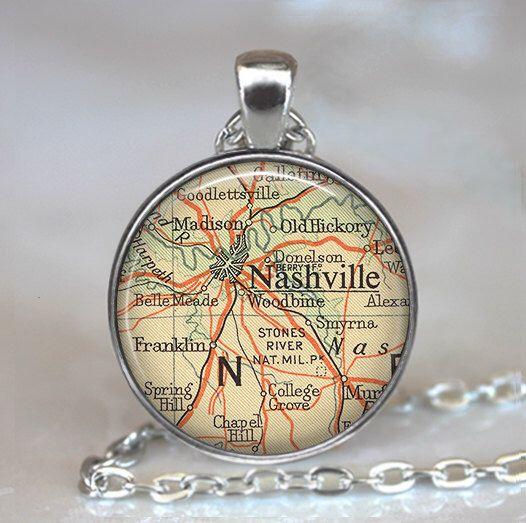 Nashville map necklace, Nashville pendant, Nashville necklace, Nashville Tennessee necklace, Nashville TN travel map keychain key fob by thependantemporium on Etsy https://www.etsy.com/listing/62594955/nashville-map-necklace-nashville-pendant