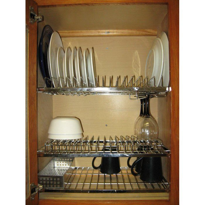 Stainless steel racks that can be put inside a standard kitchen cabinet. The racks replace the shelves in your cabinet to instantly convert it into a combination dish drying and storage rack. If you hand wash a lot and find yourself running out of room on your counter top or in-sink dish rack, this cabinet plate rack might be the perfect solution. It is best to put in plates and other items after they have drained for a few minutes on your counter top or in sink rack. The cabinet dish rack…