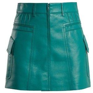 Prada Pintucked grained-leather mini skirt