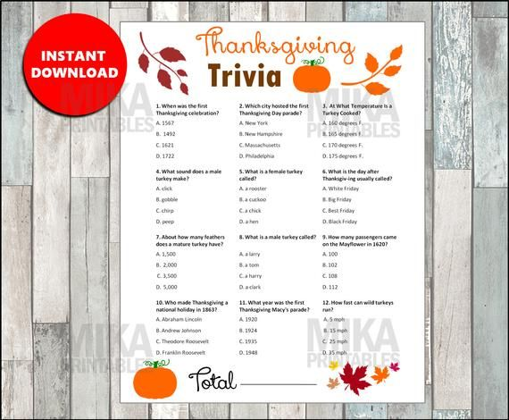 Turkey Trivia Printable Game, Thanksgiving Games, Thanksgiving Trivia, Thanksgiving Dinner, Table Favors, ANSWERS included