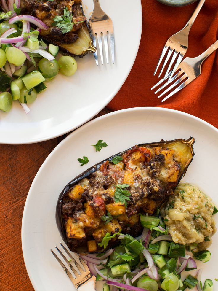 Turkish Beef and Potato Stuffed Eggplants with Grape Salad
