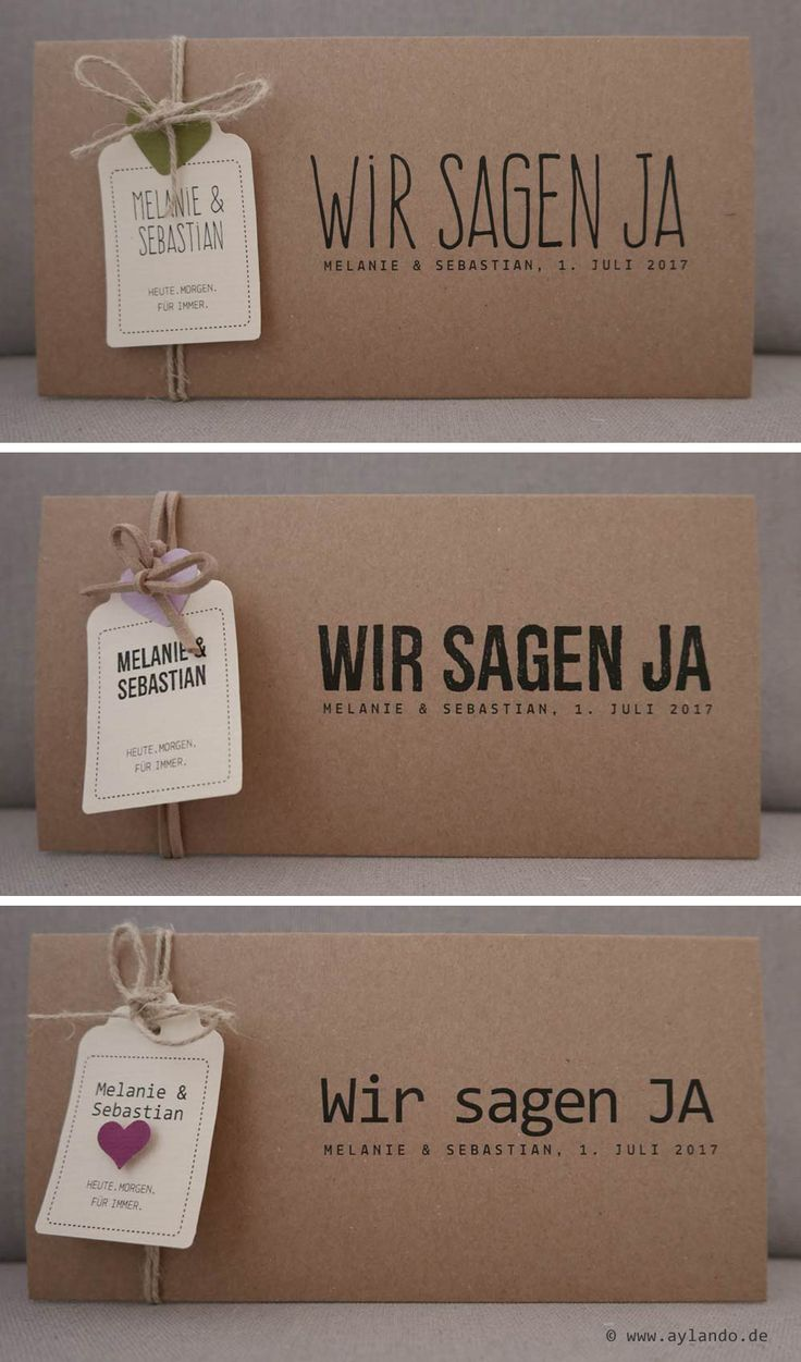 Hochzeitskarte Kraftpapier / natural wedding invitation Kraft paper