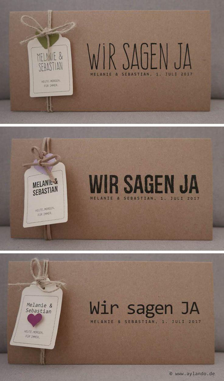 Hochzeitskarte Kraftpapier / natural wedding invitation Kraft paper