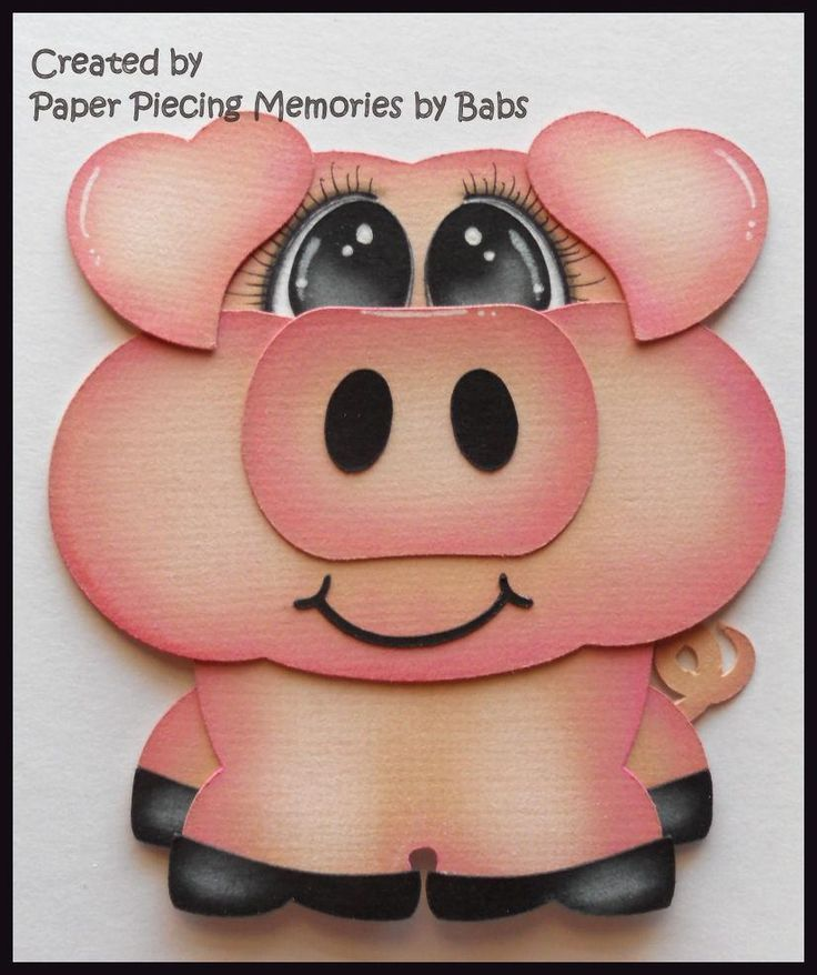Piggy Premade Paper Piecing Embellishment Die Cut by Babs  https://www.facebook.com/paperpiecingmemories.bybabs/