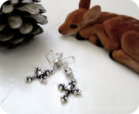 Amen, with a stud <3 Silver crosses, with Swarovski Crystals and studs. From Devious Darlins'..