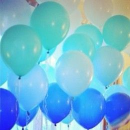 This is so trendy and so simple, just get balloons in lots of shades of blue. If you are feeling extra creative you could paint a paper table cloth to match.