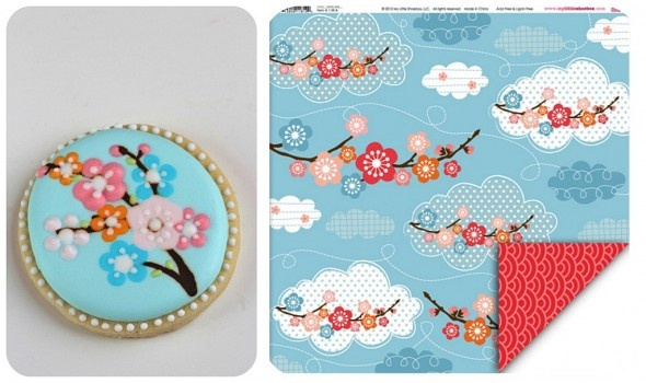 : Blossoms Cookies, Fabric Patterns, Patterns Inspiration, Chinese Patterns Cupcakes, Cookies Decor, Fabrics Patterns, Scrapbook Patterns, Cookies Asian Theme, Cookies Inspiration