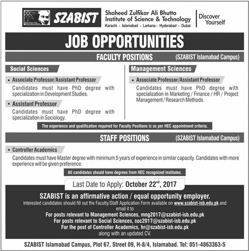 Shaheed Zulfikar Ali Bhutto Institute Of Science And Technology Jobs 2017 In Islamabad For Assistant Professor And … http://www.jobsfanda.com/shaheed-zulfikar-ali-bhutto-institute-science-technology-jobs-2017-islamabad-assistant-professor-associate-professor/