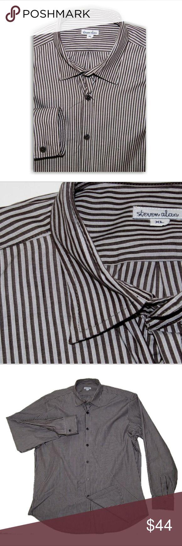 Steven Alan Men's button up shirt brown Gray XL Steven Alan Men's button up shirt brown Gray XL Steven Alan Shirts Casual Button Down Shirts