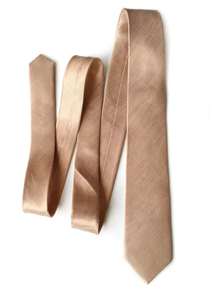 "Pale copper silk & linen blend necktie. Tan woven ""Vernors"" tie. These come in one perfect ""Goldilocks"" middle tie size: our narrow, modern slim cut. Not to"