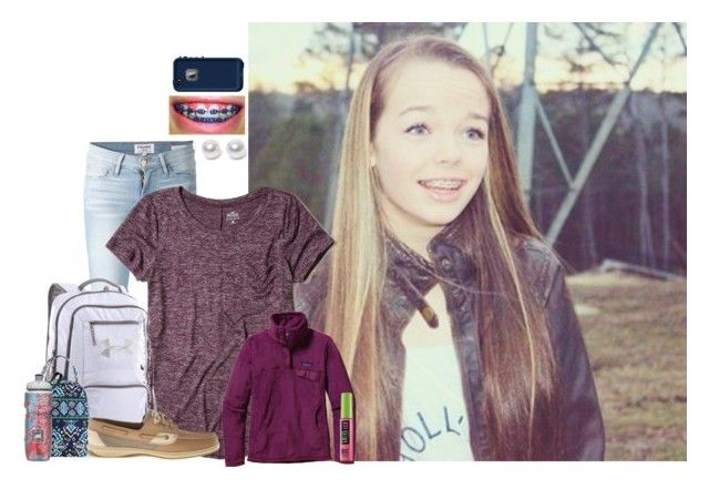 """""""Holly - school 2/14/17"""" by girlsoflexi ❤ liked on Polyvore featuring Frame, Hollister Co., Under Armour, Patagonia, Vera Bradley, Polar, Sperry, LifeProof, Nouv-Elle and Maybelline"""