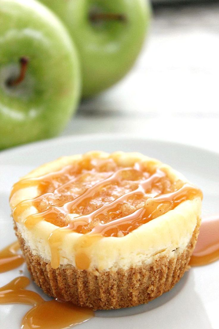 Mini Apple Cheesecakes Recipe — Delicious, creamy individually sized apple cheesecake dessert. Perfect for Thanksgiving & fall parties.