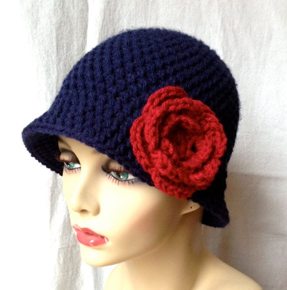 Crochet Womens Hat Navy Blue Cloche Red Rose by JadeExpressions