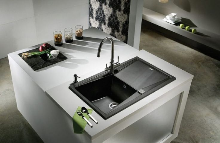 Modern White Kitchen Island With Black Sink Black Kitchen Sinks Can Add A Touch Of Elegance Check more at http://www.wearefound.com/black-kitchen-sinks-can-add-a-touch-of-elegance/