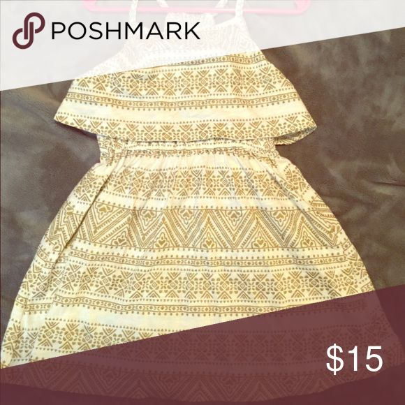 Sleeveless Summer Dress Gold and white detailed strappy summer dress Carter's Dresses