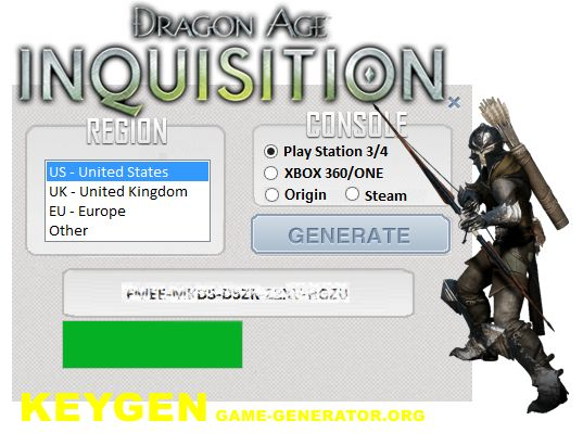 Game of the year Dragon Age INQUISITION , with our cd-key generator, you can generate original KEYS for PC, PS3, PS4, Xbox 360 i Xbox One